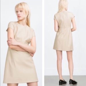 Cream Faux Leather Mini Dress